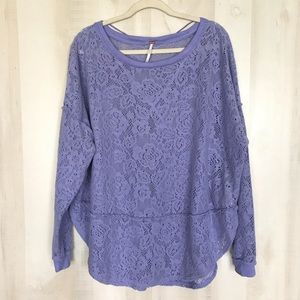 Free People Soft Lace Slouchy Sweater Long Sleeve